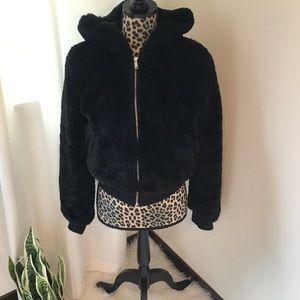 Faux fur black zip down coat